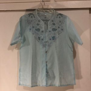 Baby blue vintage floral embroidered shirt